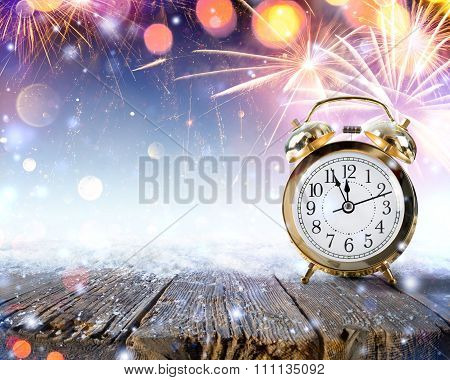 Midnight Celebration - Clock On Snowy Table With Fireworks