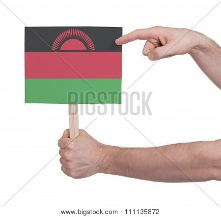 Hand Holding Small Card - Flag Of Malawi