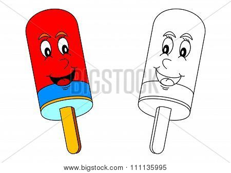 Smiling Colored Lolly As A Coloring For Little Kids