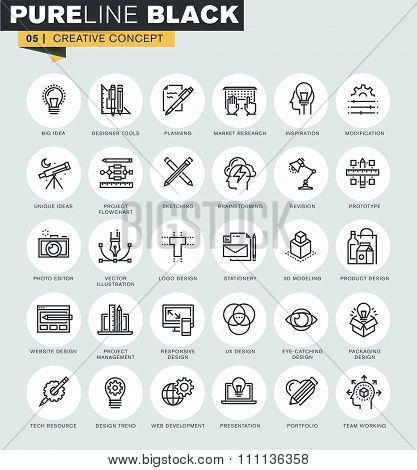 Set of thin line web icons of graphic design