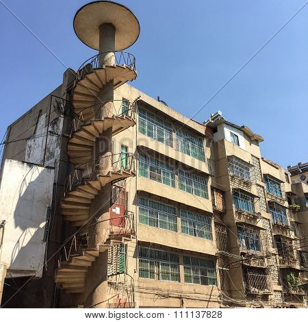Old Building With Exterior Spiral Staircase
