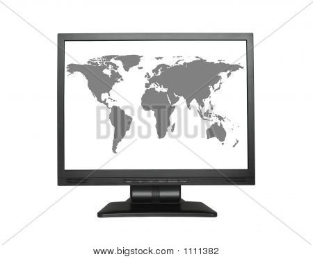 World Map In Wide Lcd Screen