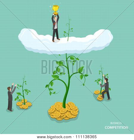 Business competition isometric flat vector concept.