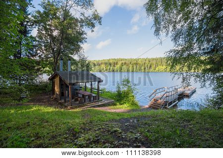 Arbour For Rest And Meal Preparation At The Lake In The Woods