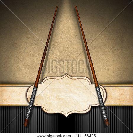Asian Menu With Wooden Chopsticks