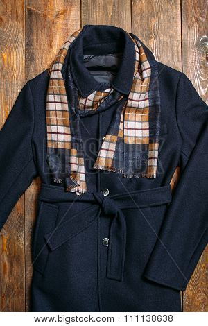 Classic Men's Wool Coat And Warm Scarf.