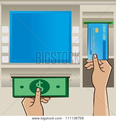 Man Holding Cash And Credit Card Near Atm