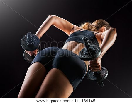 Fitness Womans Back And Buttocks. Train - Squat With Dumbbells
