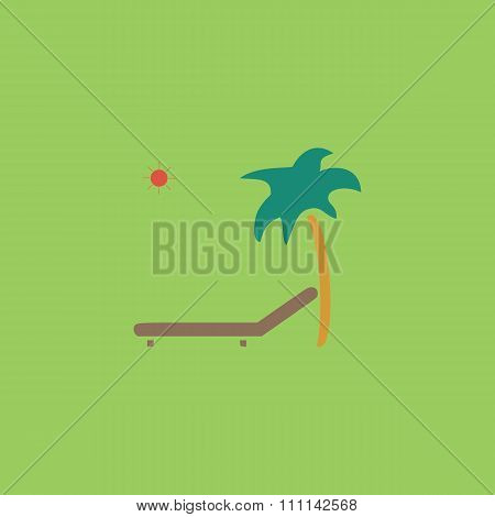 Tropical resort beach. Sunbed Chair - Vector icon isolated
