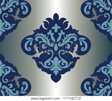 Royal damask ornament in blue color