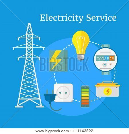 Electricity Service Flat Design