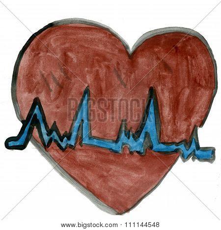 ECG heart isolated on white background
