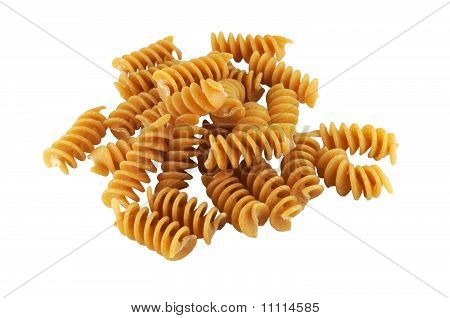Corkscrew pasta on white background