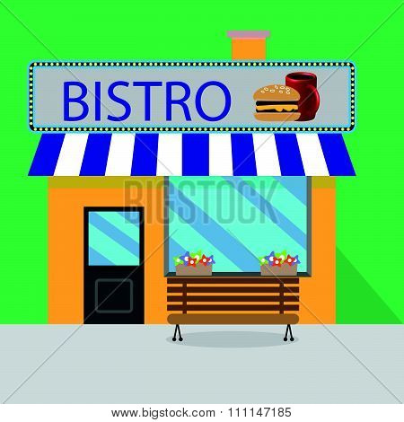 Building bistro cartoon style