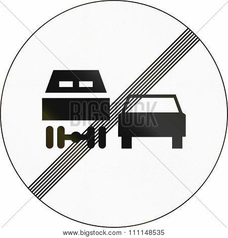 Slovenian Road Sign - End Overtaking Restriction For Trucks