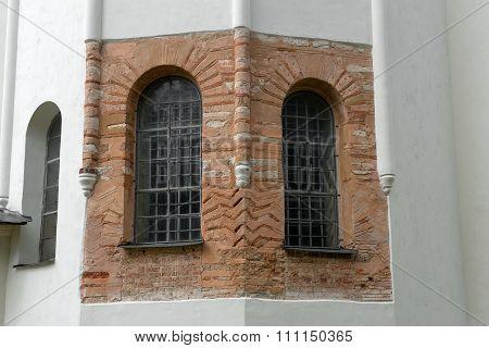 Open The Old Brick Walls Of St. Sophia Cathedral. Velikiy Novgorod