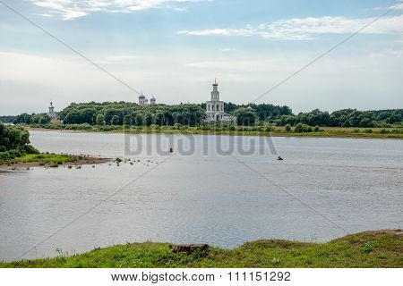 Oldest In Russia The St. George's (yuriev) Monastery On The Bank Of The Volkhov River Near Where It