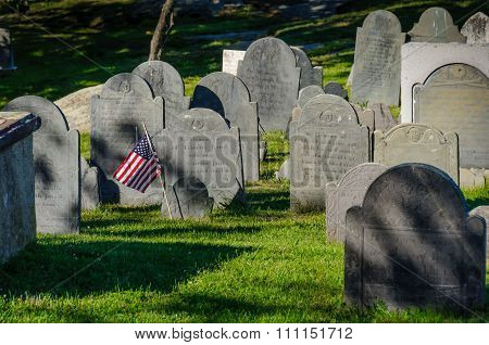 Historic Cemetery In Boston, Massachusetts.