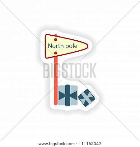 stylish paper sticker on white background pointer North Pole