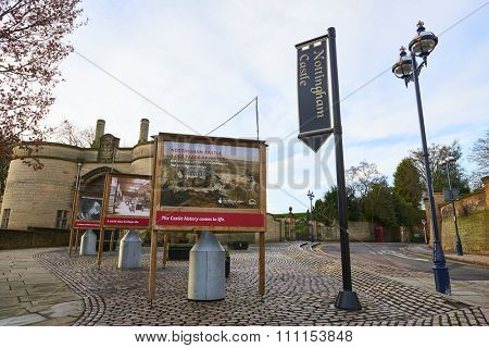 NOTTINGHAM, UK - DECEMBER 04: Entrance to Nottingham Castle. The castle is the setting of Robin Hood's last battle agains the sheriff of Nottingham. December 04, 2015 in Nottingham.