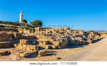 View Of Lighthouse And Paphos Archaeological Park - Cyprus