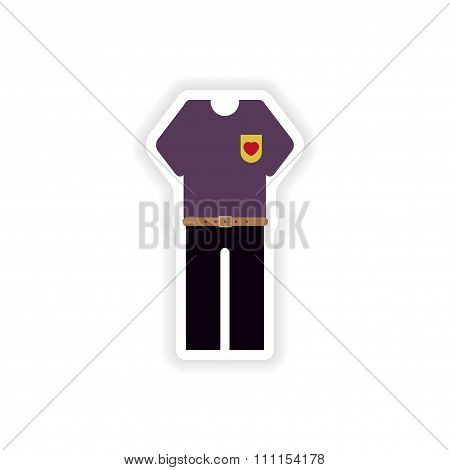 stylish paper sticker on white background trousers and T-shirt