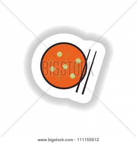 stylish paper sticker miso soup and chopsticks