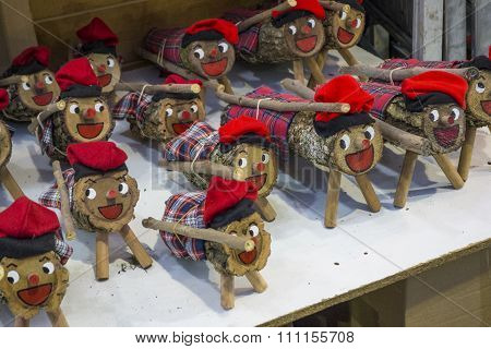 Barcelona, Spain - November 28, 2015: Stands with  Christmas gifts in Barcelona, Spain. Fira de Sant