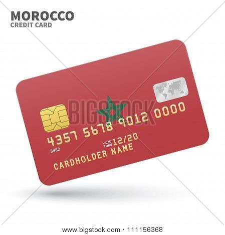 Credit card with Morocco flag background for bank, presentations and business. Isolated on white