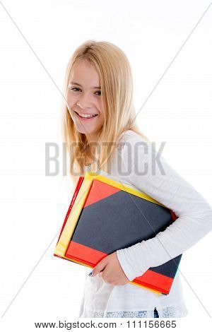 Blond Girl With Exercise Books