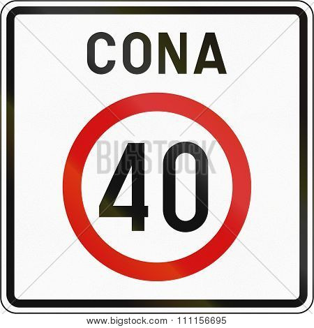 Slovenian Road Sign - Speed Limit Zone. Cona Means Zone
