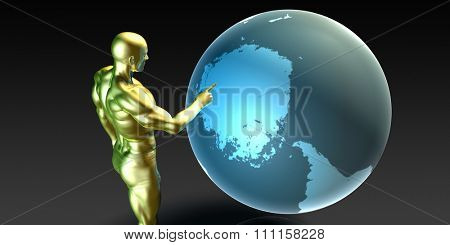 Businessman Pointing at the Antarctica Arctic Continent
