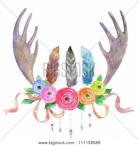 Watercolor Illustration In Boho Ethnic Style