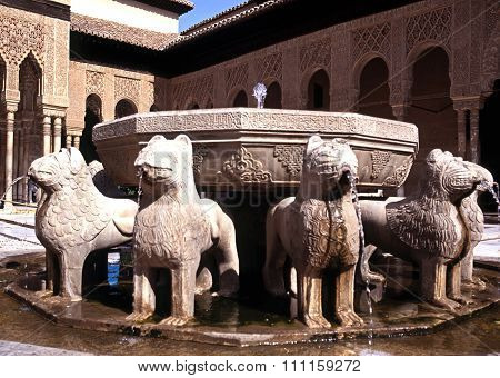 Lion fountain, Palace of Alhambra.