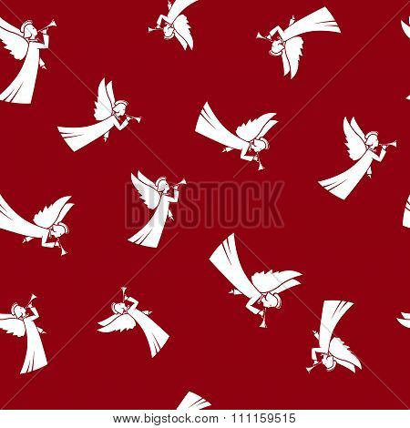 Seamless Pattern with Christmas Angel