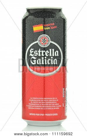 Estrella Galicia pale lager beer isolated on white background