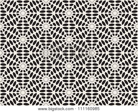 Vector Black And White Rounded Ellipse Lace Star Pattern