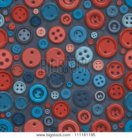 Raster Seamless Blue Red Retro Buttons Jumble Pattern
