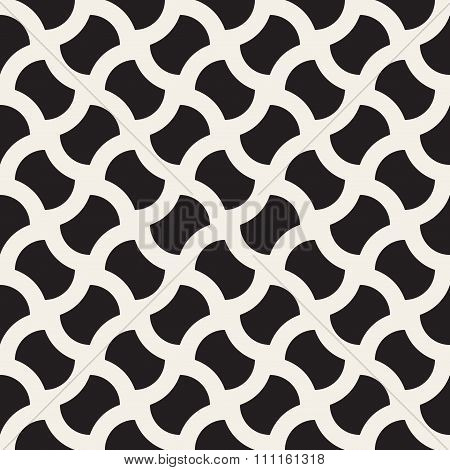 Vector Seamless Black And White Geometric Wavy Lines Grid Rounded Pavement Pattern