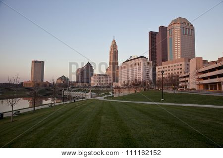 The city of Columbus, Ohio along the new Scioto Greenway