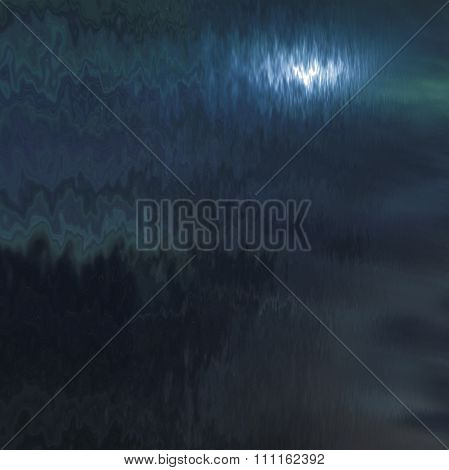 natural landscape with night sky and moon reflected in water