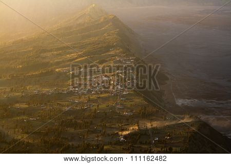 Volcano Mount view from Kintamani, Bali, Indonesia - Volcano landscape view with forest in Bali.