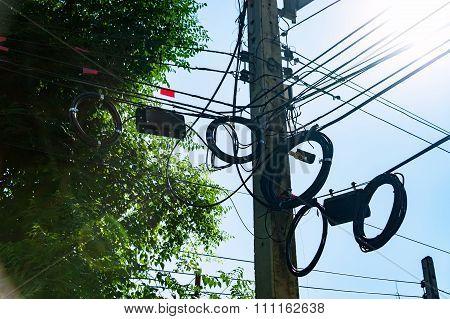 Pillar Electric Line In Sun Light
