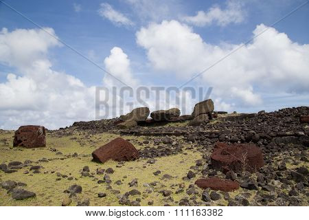 Toppled over Moais Akahanga on Easter Island
