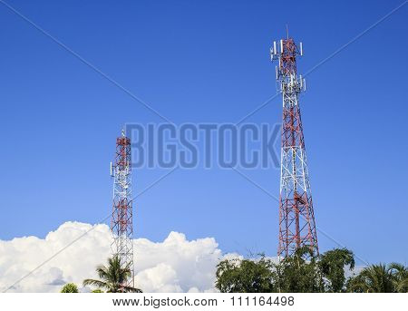 Communications Tower With A Beautiful Sky