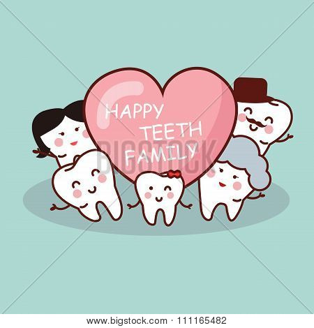 Happy Cartoon Tooth Family