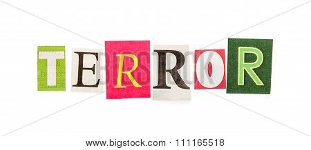 Caption terror composed from clipped letters