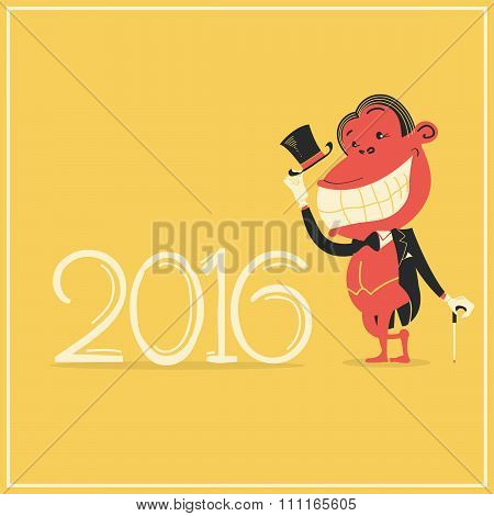 New Year Card With Elegance Monkey In Gentleman's Suit