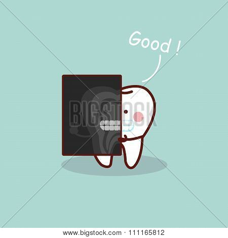 Cartoon Tooth With X Ray