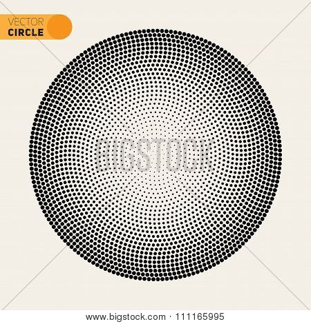 Vector Black And White Fibonacci Spiral Circle Halftone Pattern Design Element